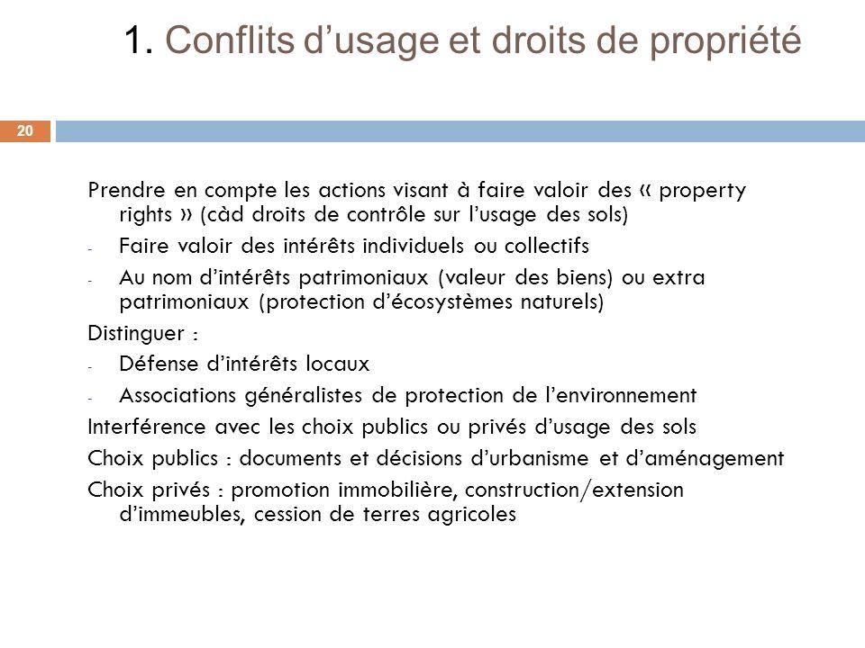 Prendre en compte les actions visant à faire valoir des « property rights » (càd droits de contrôle sur lusage des sols) - Faire valoir des intérêts i