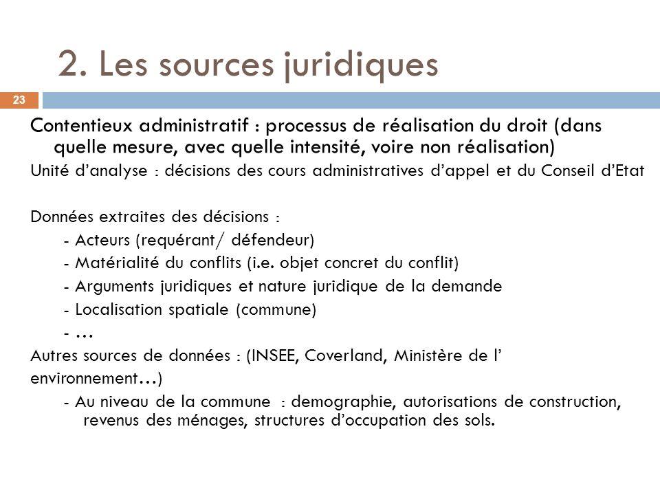 2. Les sources juridiques Contentieux administratif : processus de réalisation du droit (dans quelle mesure, avec quelle intensité, voire non réalisat