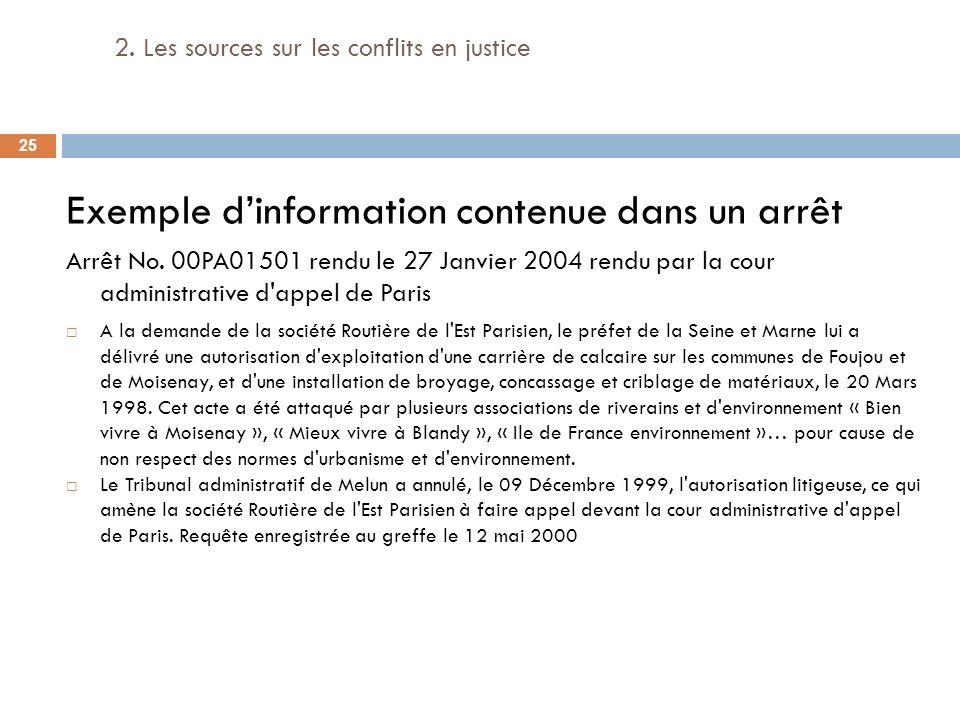 2. Les sources sur les conflits en justice Exemple dinformation contenue dans un arrêt Arrêt No. 00PA01501 rendu le 27 Janvier 2004 rendu par la cour