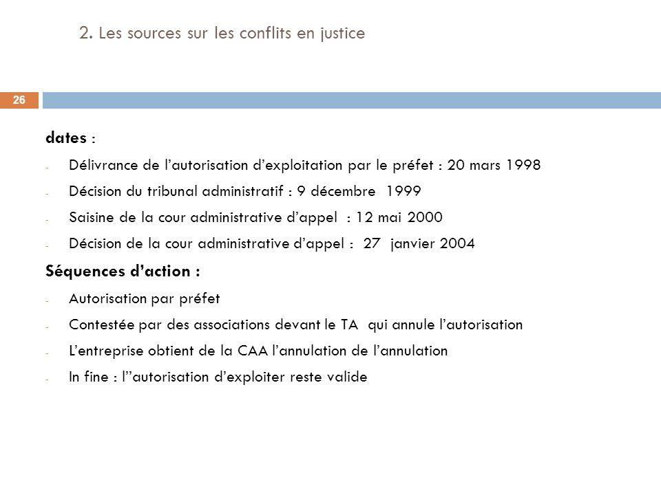 2. Les sources sur les conflits en justice dates : - Délivrance de lautorisation dexploitation par le préfet : 20 mars 1998 - Décision du tribunal adm