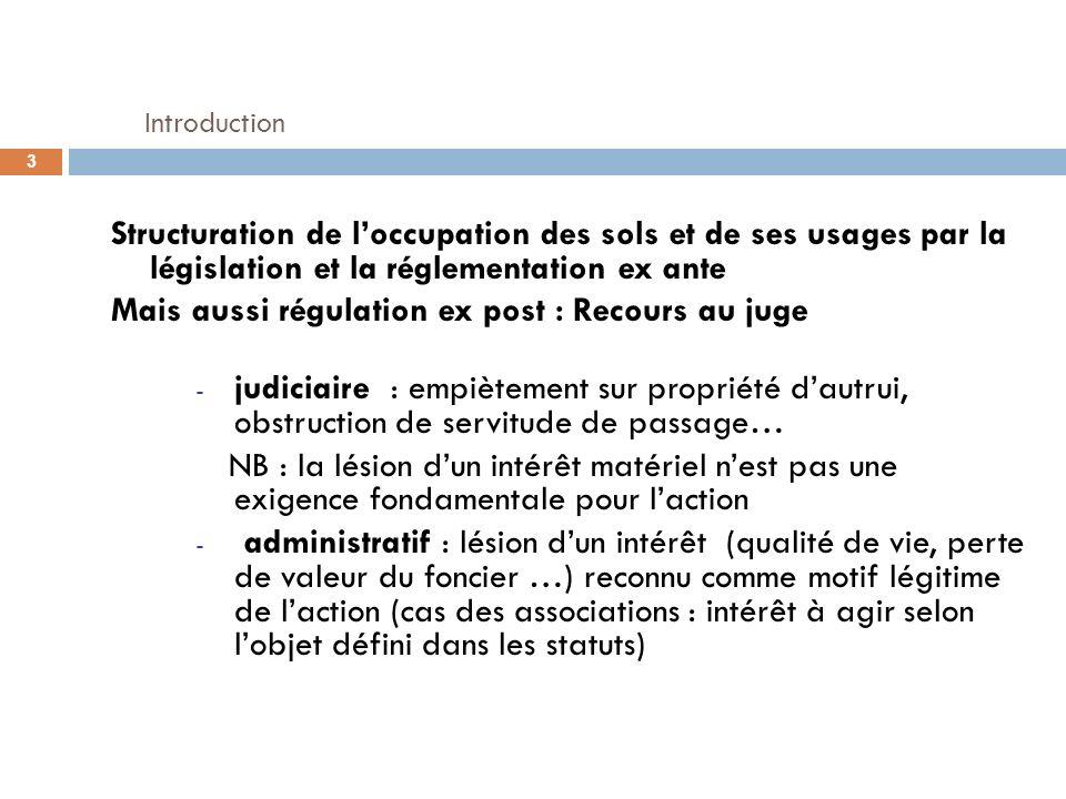 Introduction Structuration de loccupation des sols et de ses usages par la législation et la réglementation ex ante Mais aussi régulation ex post : Re