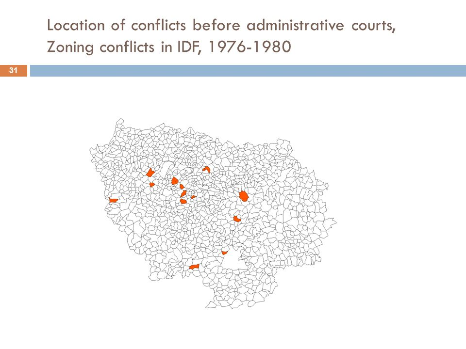 Location of conflicts before administrative courts, Zoning conflicts in IDF, 1976-1980 31