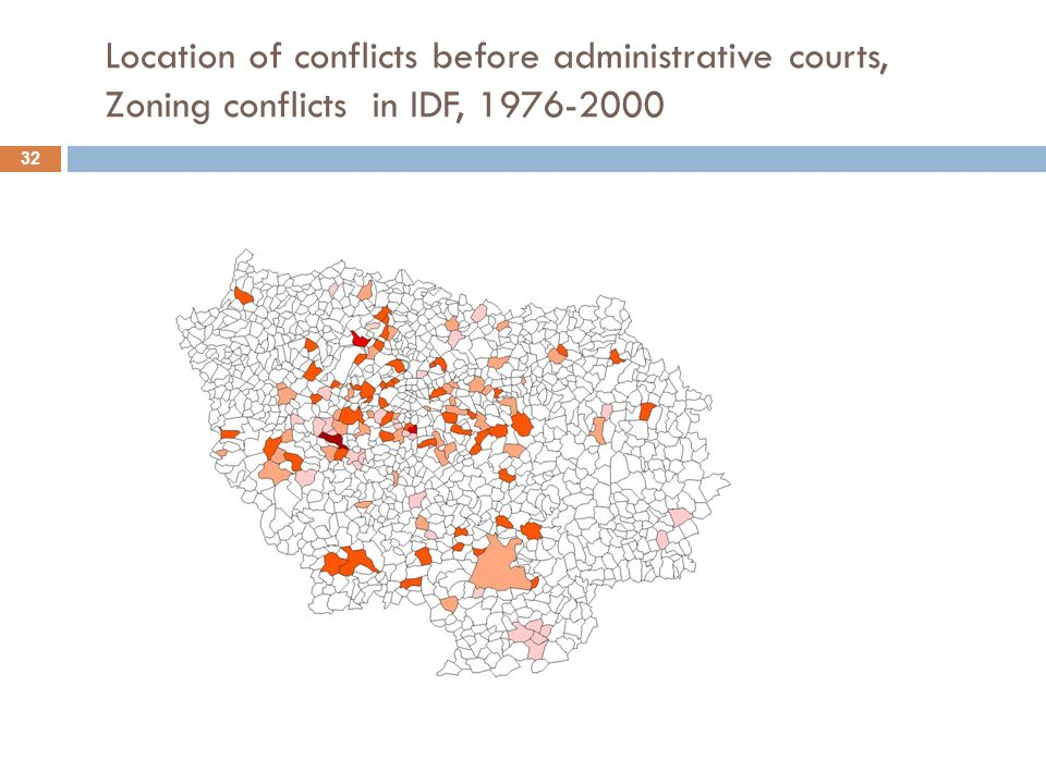 Location of conflicts before administrative courts, Zoning conflicts in IDF, 1976-2000 32
