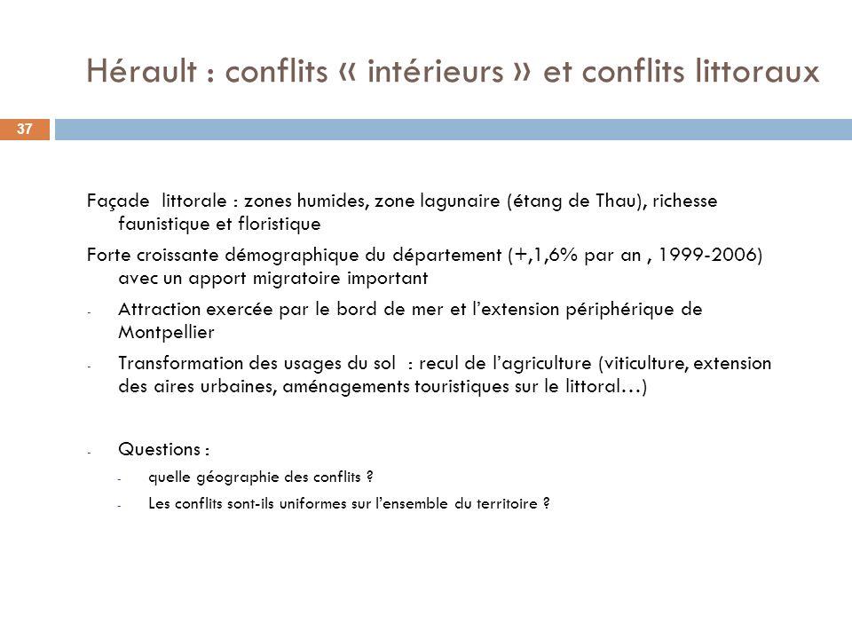 Hérault : conflits « intérieurs » et conflits littoraux Façade littorale : zones humides, zone lagunaire (étang de Thau), richesse faunistique et floristique Forte croissante démographique du département (+,1,6% par an, 1999-2006) avec un apport migratoire important - Attraction exercée par le bord de mer et lextension périphérique de Montpellier - Transformation des usages du sol : recul de lagriculture (viticulture, extension des aires urbaines, aménagements touristiques sur le littoral…) - Questions : - quelle géographie des conflits .
