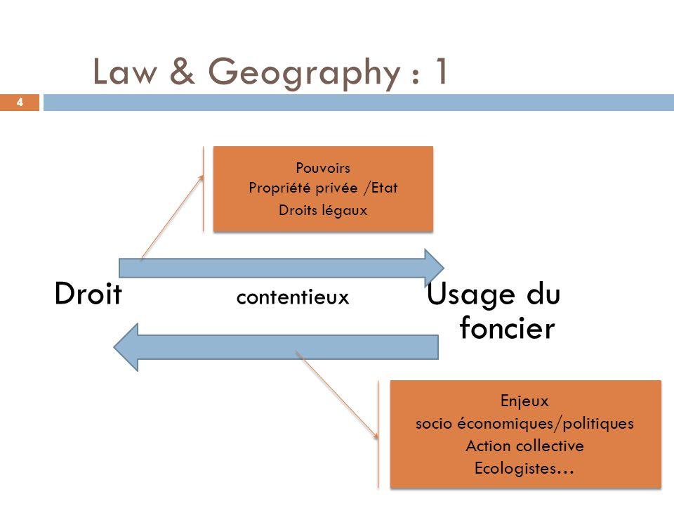 Law & Geography : 1 Droit contentieux Usage du foncier Pouvoirs Propriété privée /Etat Droits légaux Pouvoirs Propriété privée /Etat Droits légaux Enj