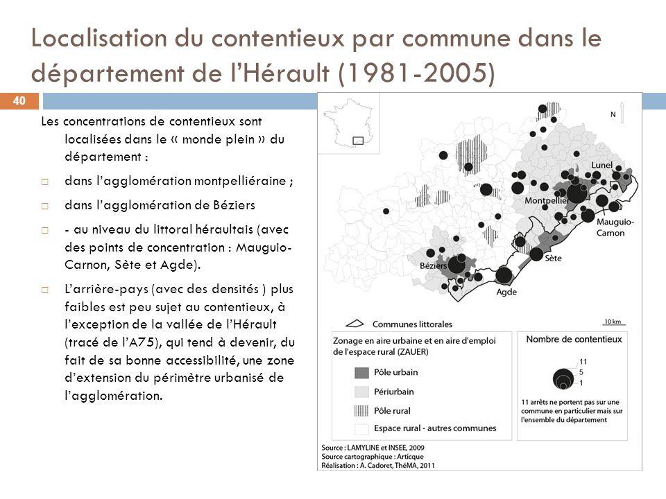 Localisation du contentieux par commune dans le département de lHérault (1981-2005) Les concentrations de contentieux sont localisées dans le « monde plein » du département : dans lagglomération montpelliéraine ; dans lagglomération de Béziers - au niveau du littoral héraultais (avec des points de concentration : Mauguio- Carnon, Sète et Agde).