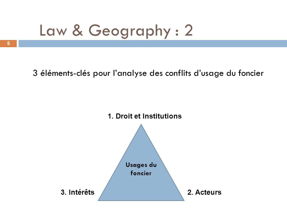 3 éléments-clés pour lanalyse des conflits dusage du foncier 5 Usages du foncier 1. Droit et Institutions 3. Intérêts 2. Acteurs Law & Geography : 2