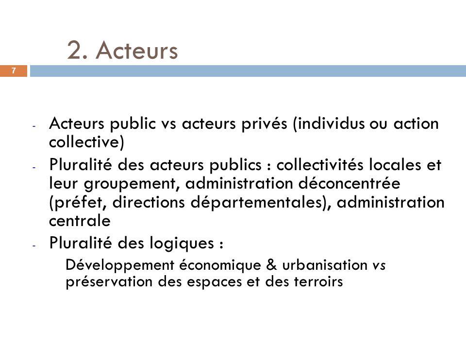 - Acteurs public vs acteurs privés (individus ou action collective) - Pluralité des acteurs publics : collectivités locales et leur groupement, admini