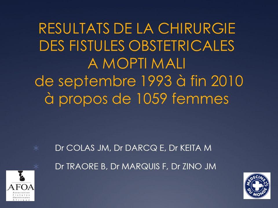 RESULTATS DE LA CHIRURGIE DES FISTULES OBSTETRICALES A MOPTI MALI de septembre 1993 à fin 2010 à propos de 1059 femmes Dr COLAS JM, Dr DARCQ E, Dr KEI