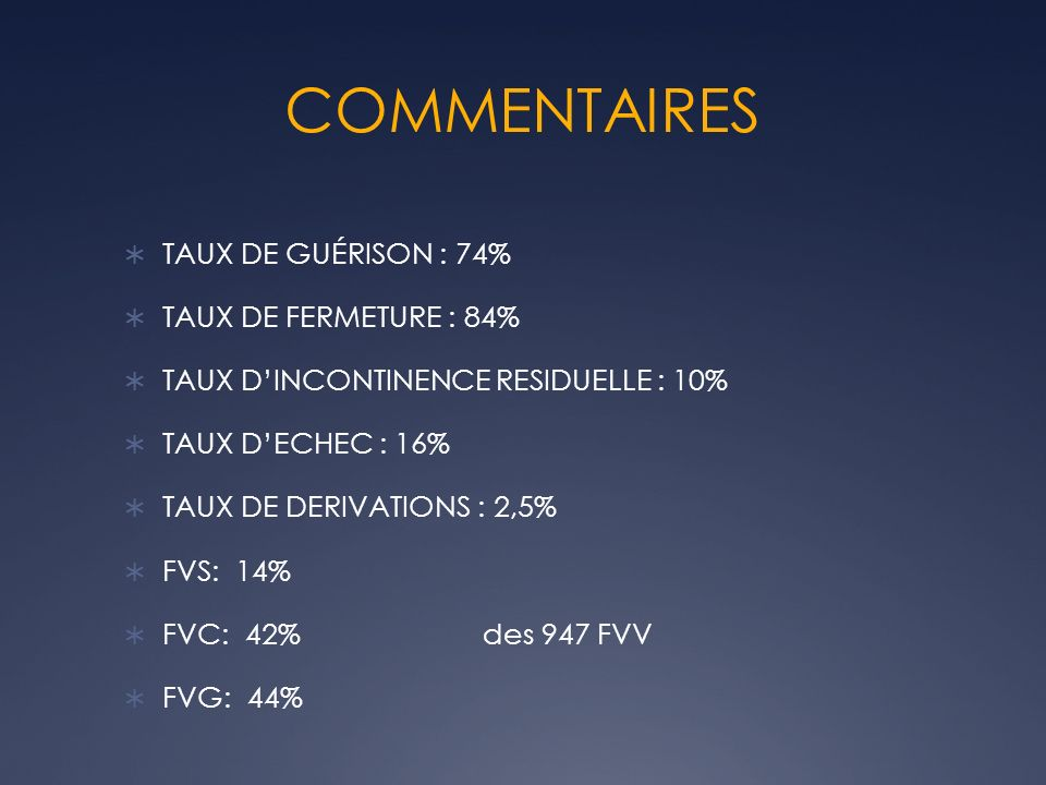 COMMENTAIRES TAUX DE GUÉRISON : 74% TAUX DE FERMETURE : 84% TAUX DINCONTINENCE RESIDUELLE : 10% TAUX DECHEC : 16% TAUX DE DERIVATIONS : 2,5% FVS: 14%