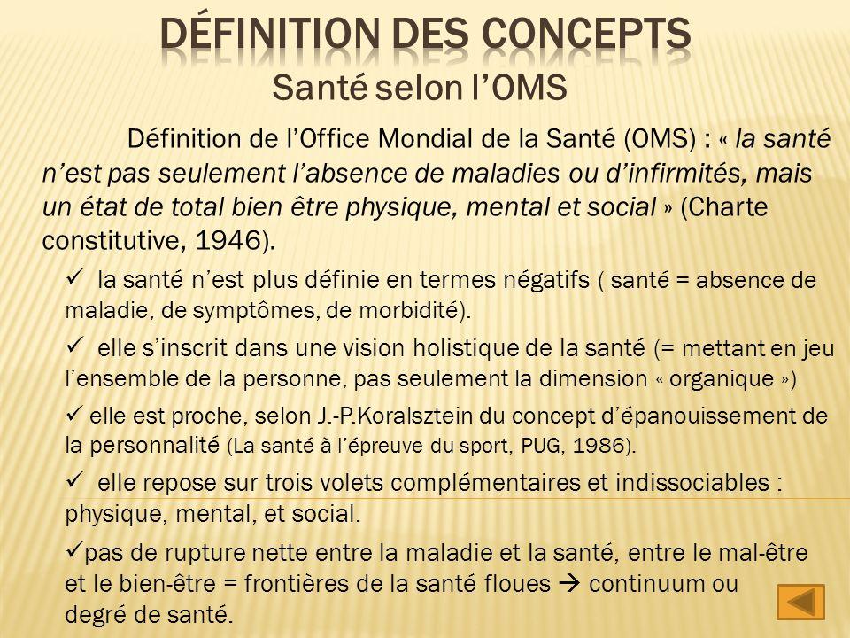 Définition de lOffice Mondial de la Santé (OMS) : « la santé nest pas seulement labsence de maladies ou dinfirmités, mais un état de total bien être p