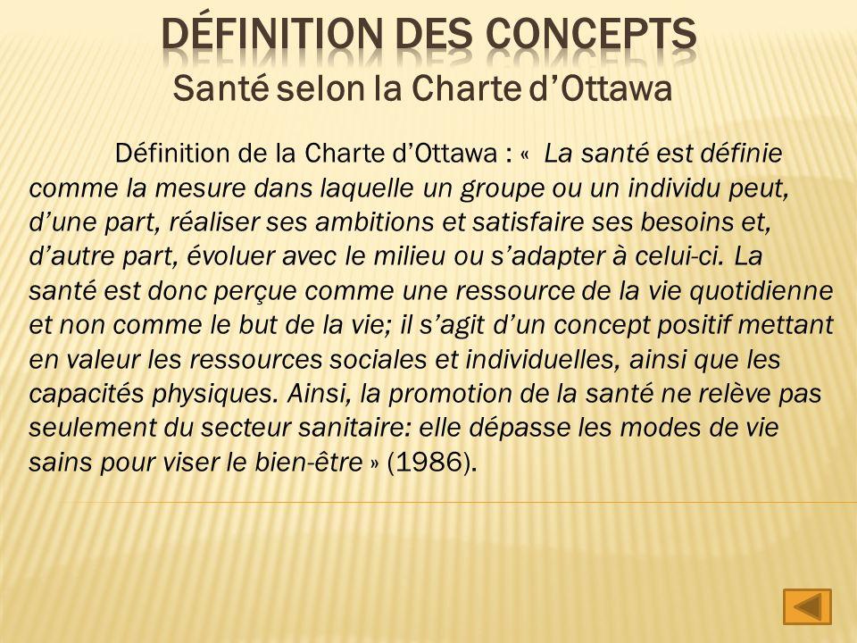 Définition de la Charte dOttawa : « La santé est définie comme la mesure dans laquelle un groupe ou un individu peut, dune part, réaliser ses ambition