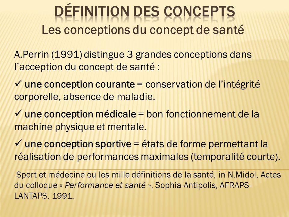 A.Perrin (1991) distingue 3 grandes conceptions dans lacception du concept de santé : une conception courante = conservation de lintégrité corporelle,