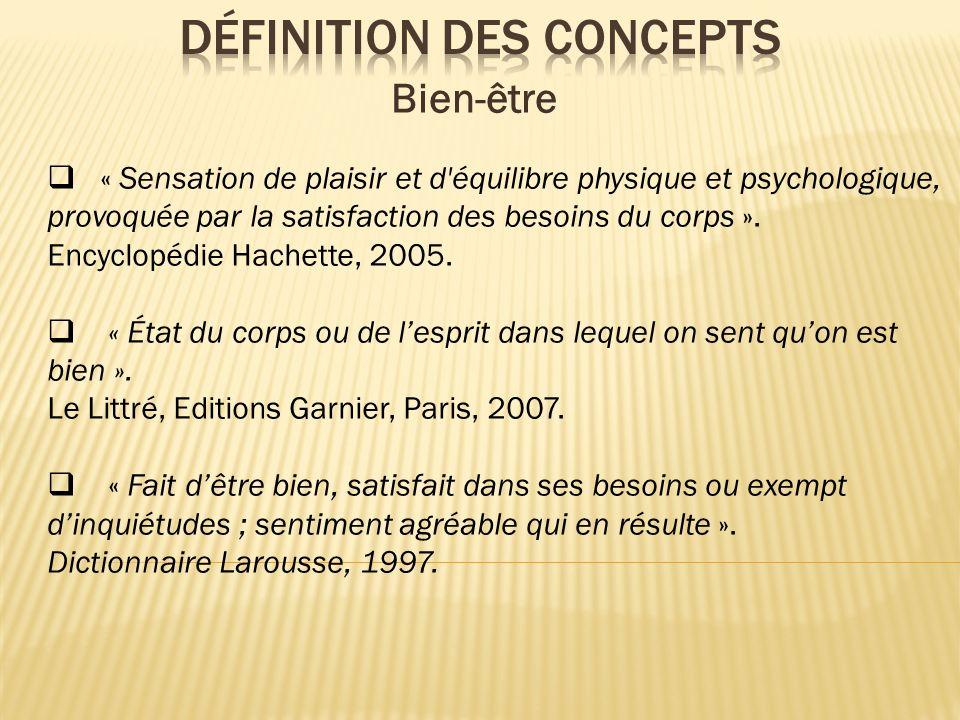 « Sensation de plaisir et d'équilibre physique et psychologique, provoquée par la satisfaction des besoins du corps ». Encyclopédie Hachette, 2005. «