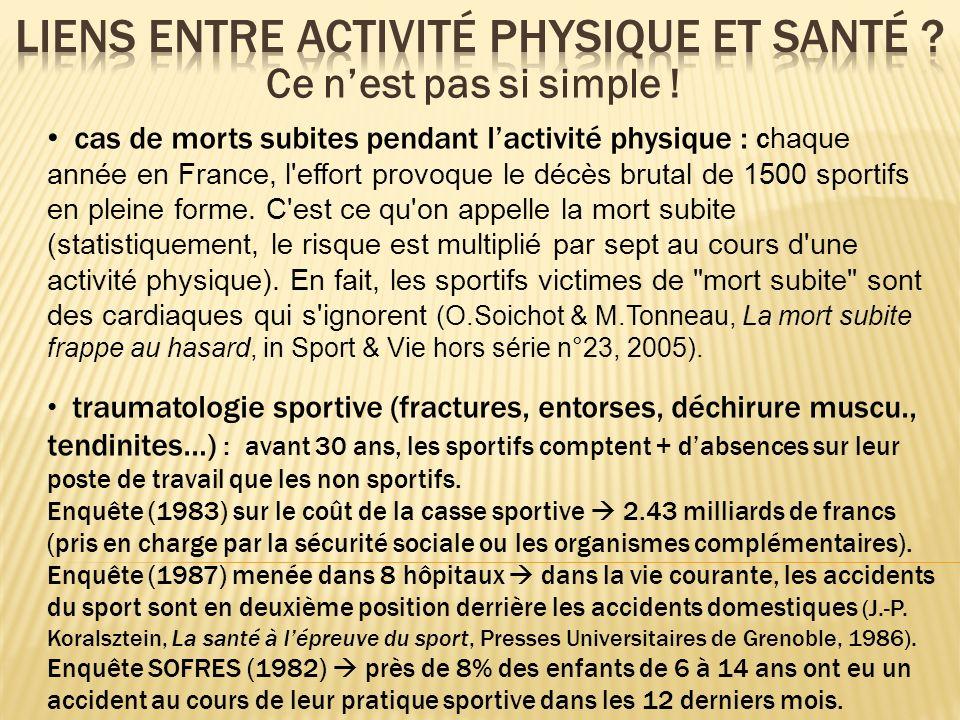 cas de morts subites pendant lactivité physique : c haque année en France, l'effort provoque le décès brutal de 1500 sportifs en pleine forme. C'est c