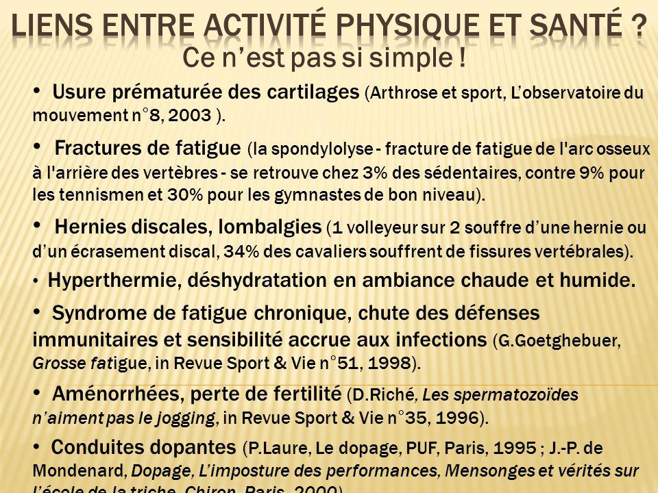 Usure prématurée des cartilages (Arthrose et sport, Lobservatoire du mouvement n°8, 2003 ). Fractures de fatigue (la spondylolyse - fracture de fatigu