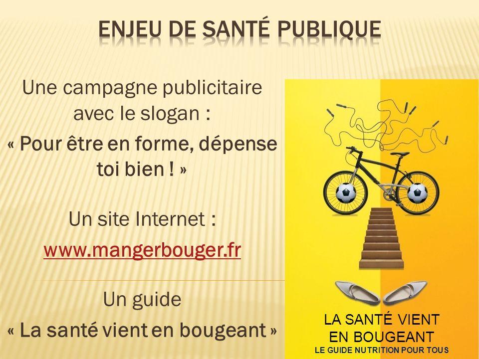LA SANTÉ VIENT EN BOUGEANT LE GUIDE NUTRITION POUR TOUS Une campagne publicitaire avec le slogan : « Pour être en forme, dépense toi bien ! » Un site