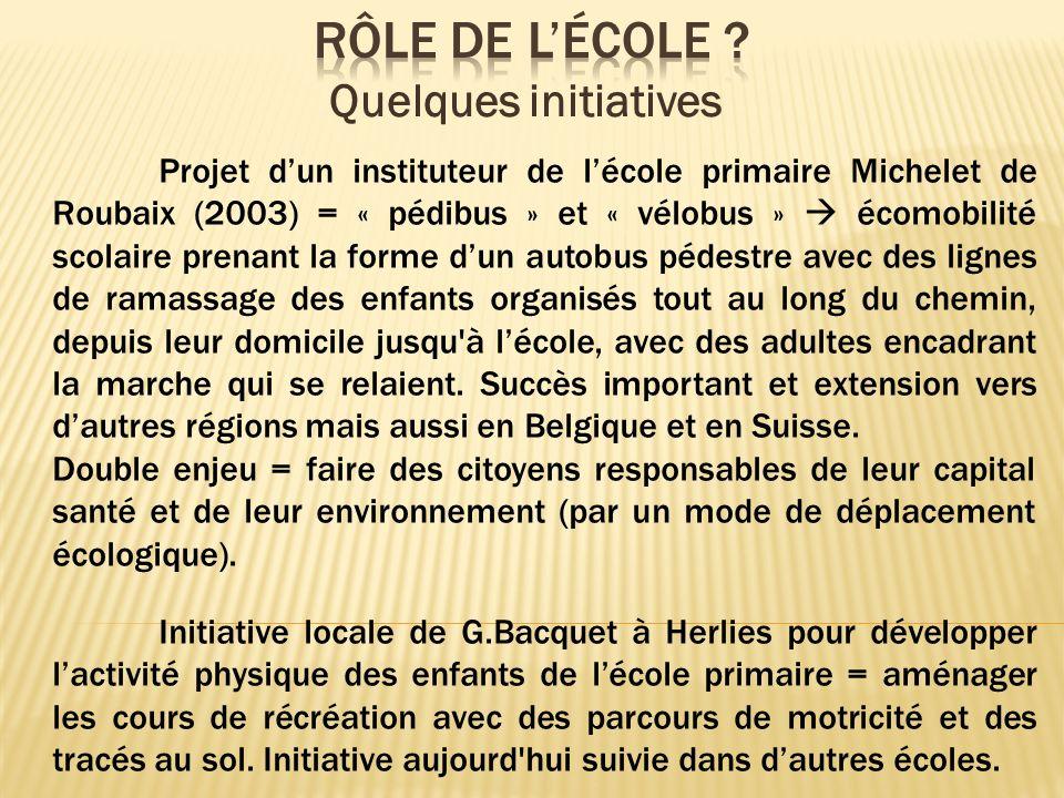 Projet dun instituteur de lécole primaire Michelet de Roubaix (2003) = « pédibus » et « vélobus » écomobilité scolaire prenant la forme dun autobus pé
