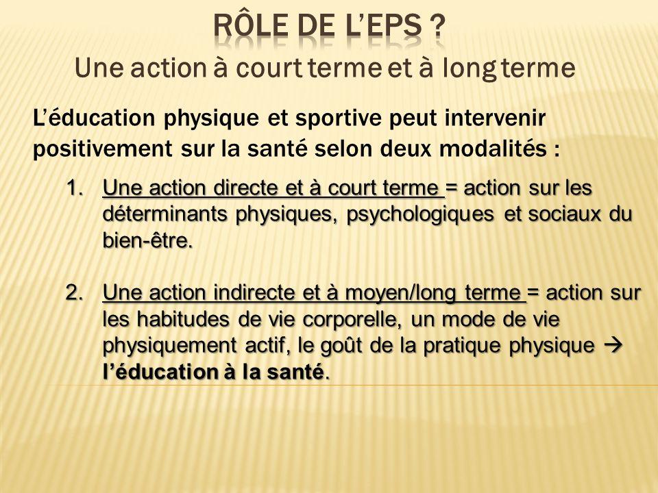 Léducation physique et sportive peut intervenir positivement sur la santé selon deux modalités : 1.Une action directe et à court terme = action sur le