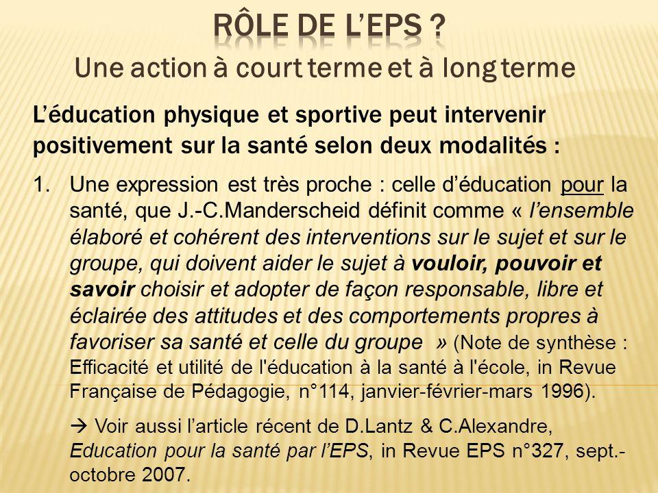 Léducation physique et sportive peut intervenir positivement sur la santé selon deux modalités : 1.Une expression est très proche : celle déducation p