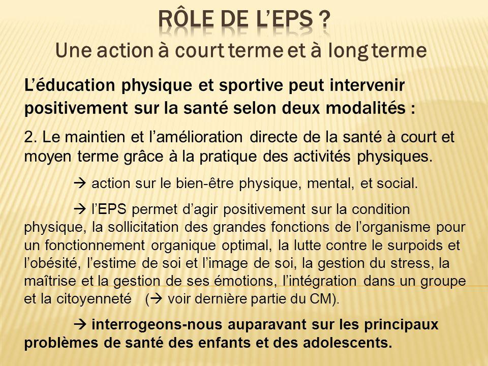 Léducation physique et sportive peut intervenir positivement sur la santé selon deux modalités : 2. Le maintien et lamélioration directe de la santé à