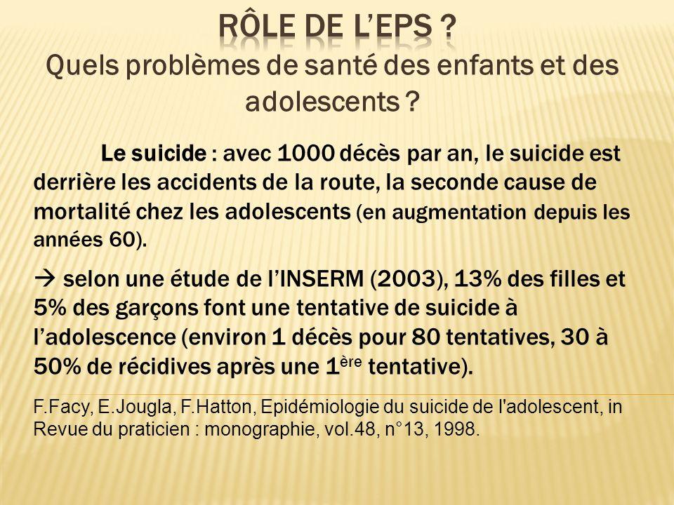 Le suicide : avec 1000 décès par an, le suicide est derrière les accidents de la route, la seconde cause de mortalité chez les adolescents (en augment