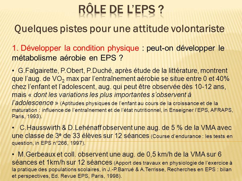 1. Développer la condition physique : peut-on développer le métabolisme aérobie en EPS ? G.Falgairette, P.Obert, P.Duché, après étude de la littératur