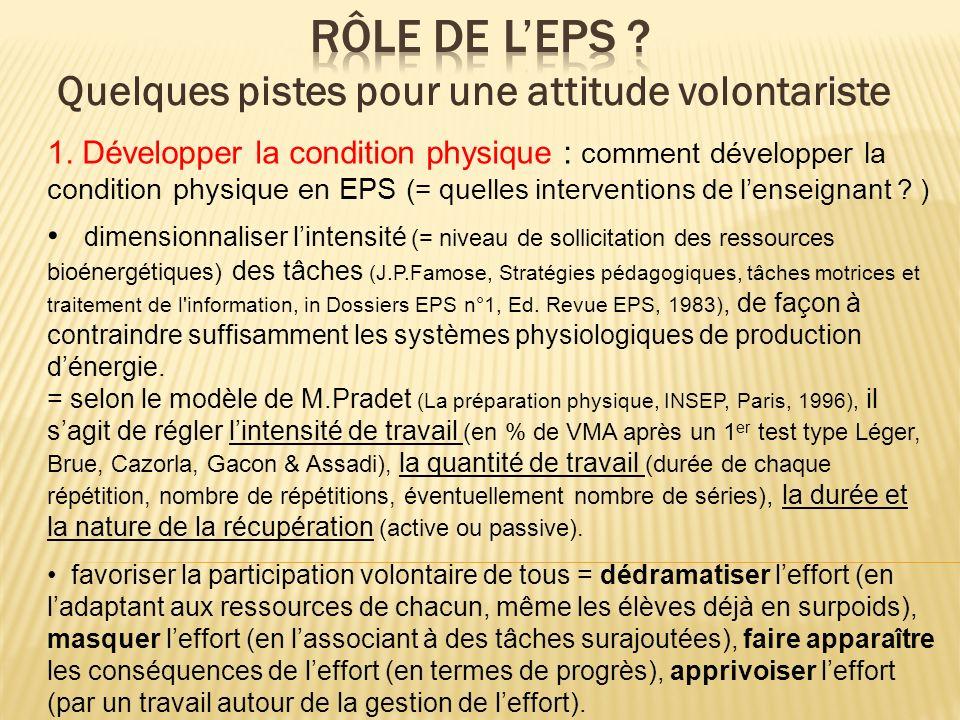 1. Développer la condition physique : comment développer la condition physique en EPS (= quelles interventions de lenseignant ? ) dimensionnaliser lin