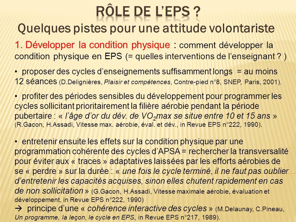1. Développer la condition physique : comment développer la condition physique en EPS (= quelles interventions de lenseignant ? ) proposer des cycles