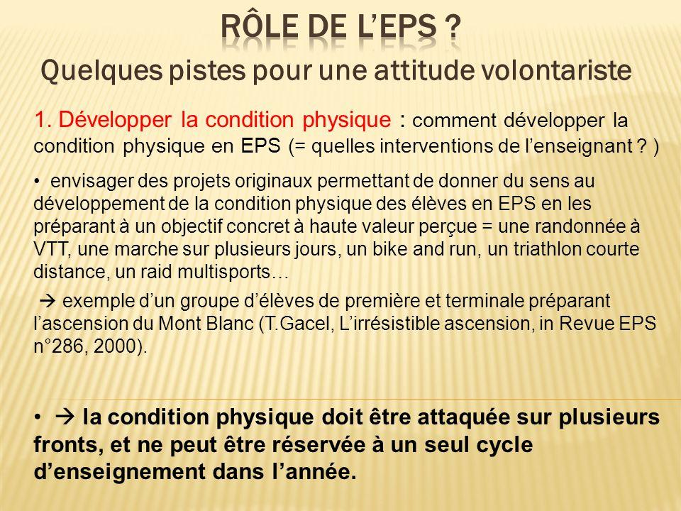 1. Développer la condition physique : comment développer la condition physique en EPS (= quelles interventions de lenseignant ? ) envisager des projet