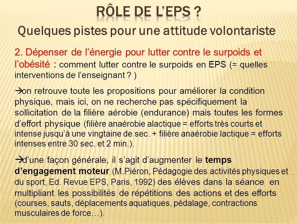 2. Dépenser de lénergie pour lutter contre le surpoids et lobésité : comment lutter contre le surpoids en EPS (= quelles interventions de lenseignant