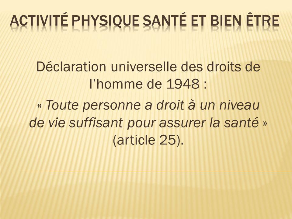 Déclaration universelle des droits de lhomme de 1948 : « Toute personne a droit à un niveau de vie suffisant pour assurer la santé » (article 25).