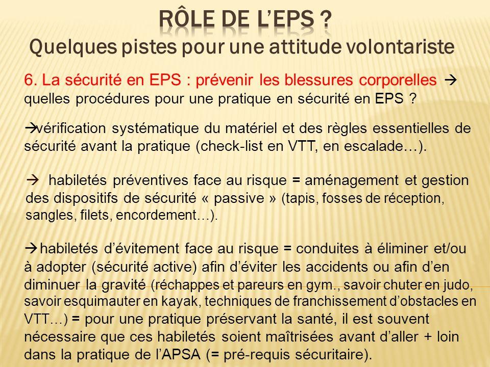 6. La sécurité en EPS : prévenir les blessures corporelles quelles procédures pour une pratique en sécurité en EPS ? vérification systématique du maté