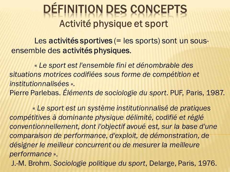 Les activités sportives (= les sports) sont un sous- ensemble des activités physiques. Activité physique et sport « Le sport est l'ensemble fini et dé