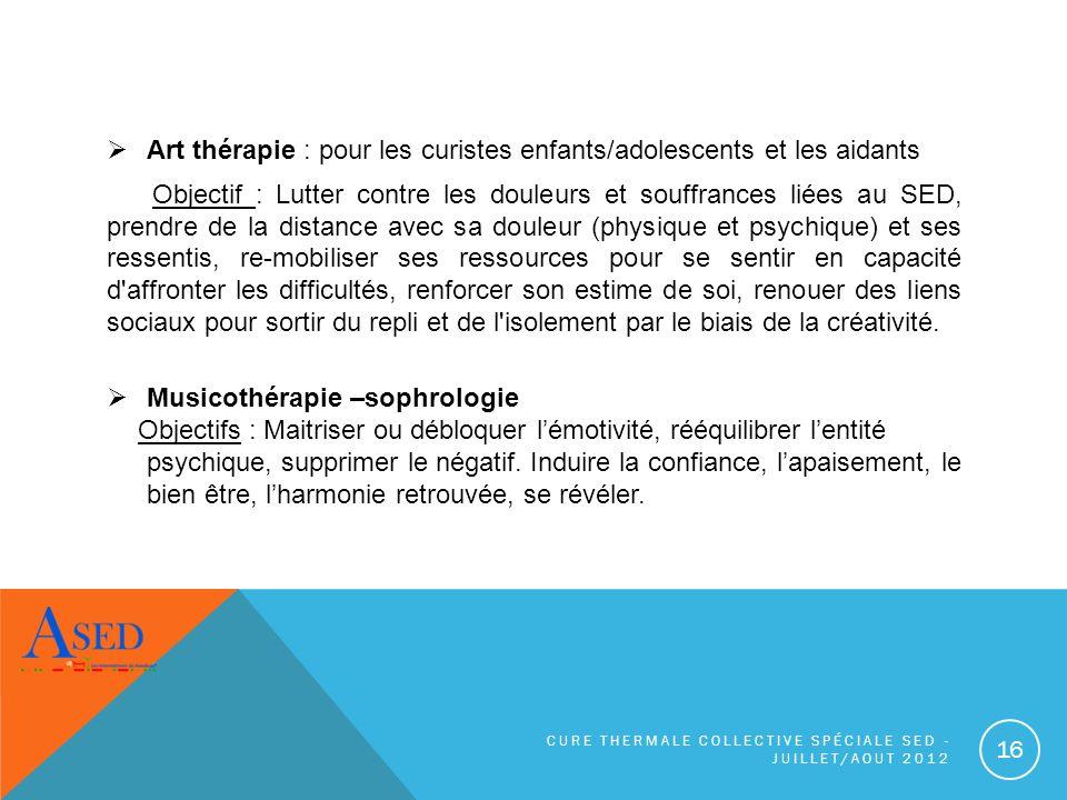 Art thérapie : pour les curistes enfants/adolescents et les aidants Objectif : Lutter contre les douleurs et souffrances liées au SED, prendre de la d