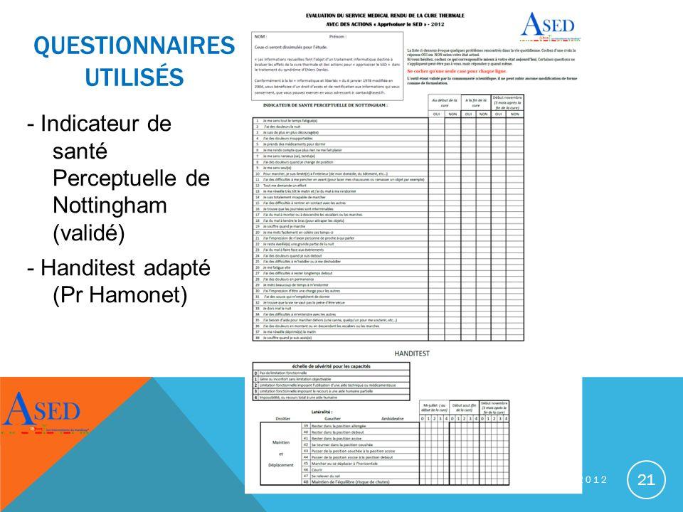 CURE THERMALE SPÉCIALE SED - JUILLET/AOUT 2012 21 QUESTIONNAIRES UTILISÉS - Indicateur de santé Perceptuelle de Nottingham (validé) - Handitest adapté