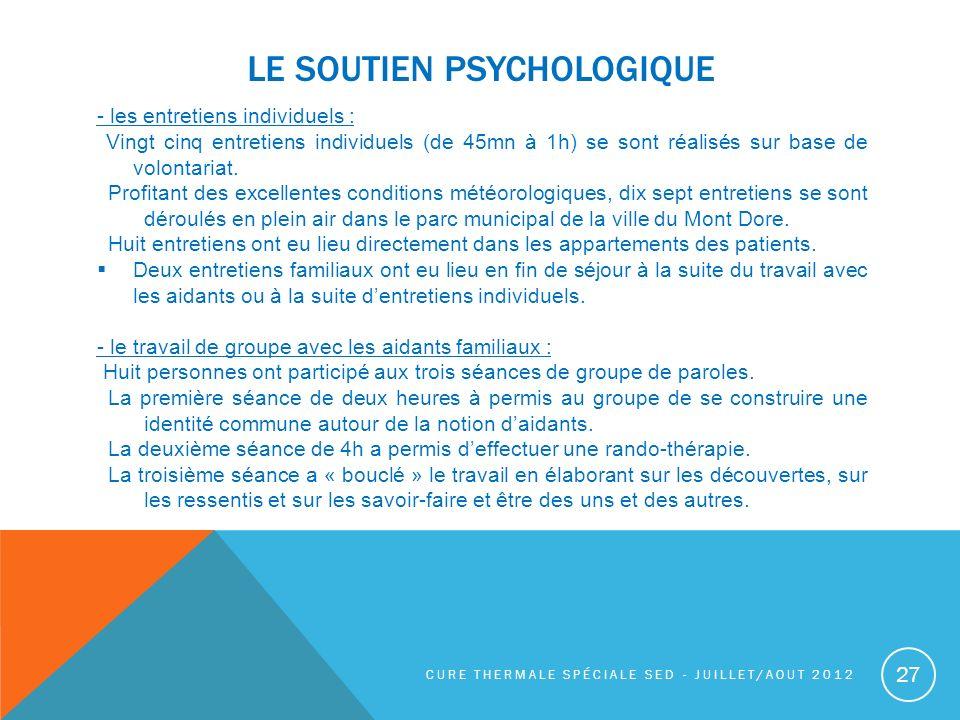 LE SOUTIEN PSYCHOLOGIQUE - les entretiens individuels : Vingt cinq entretiens individuels (de 45mn à 1h) se sont réalisés sur base de volontariat. Pro