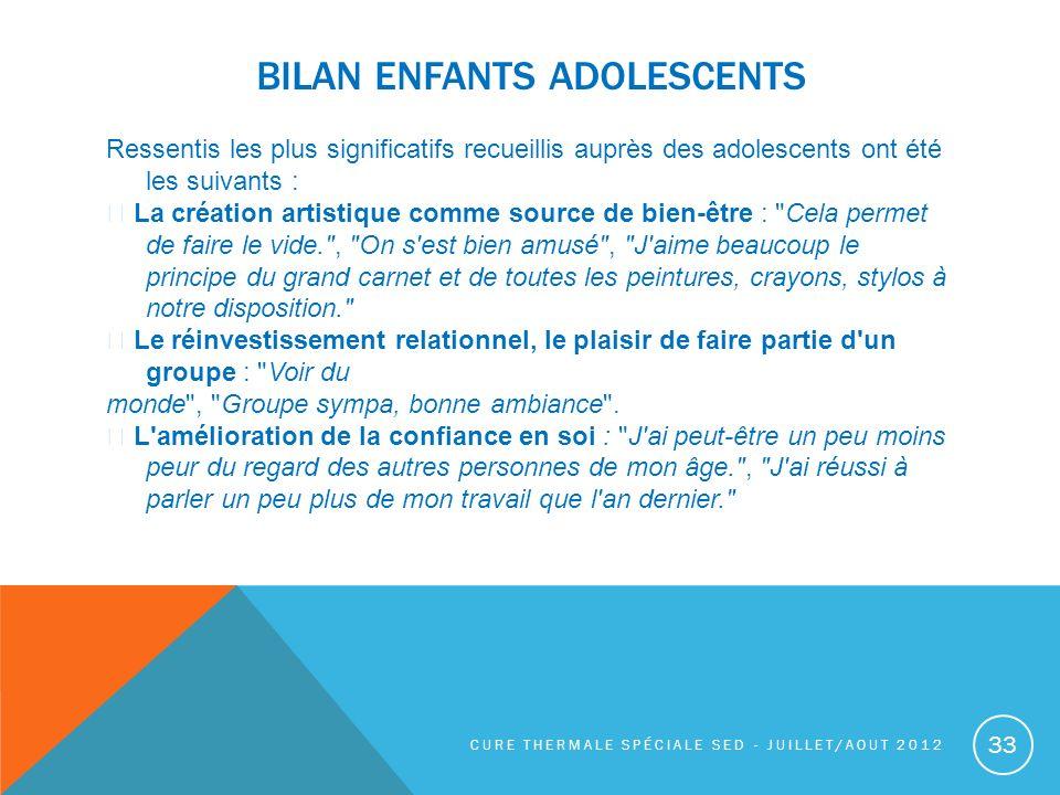 BILAN ENFANTS ADOLESCENTS Ressentis les plus significatifs recueillis auprès des adolescents ont été les suivants : La création artistique comme sourc