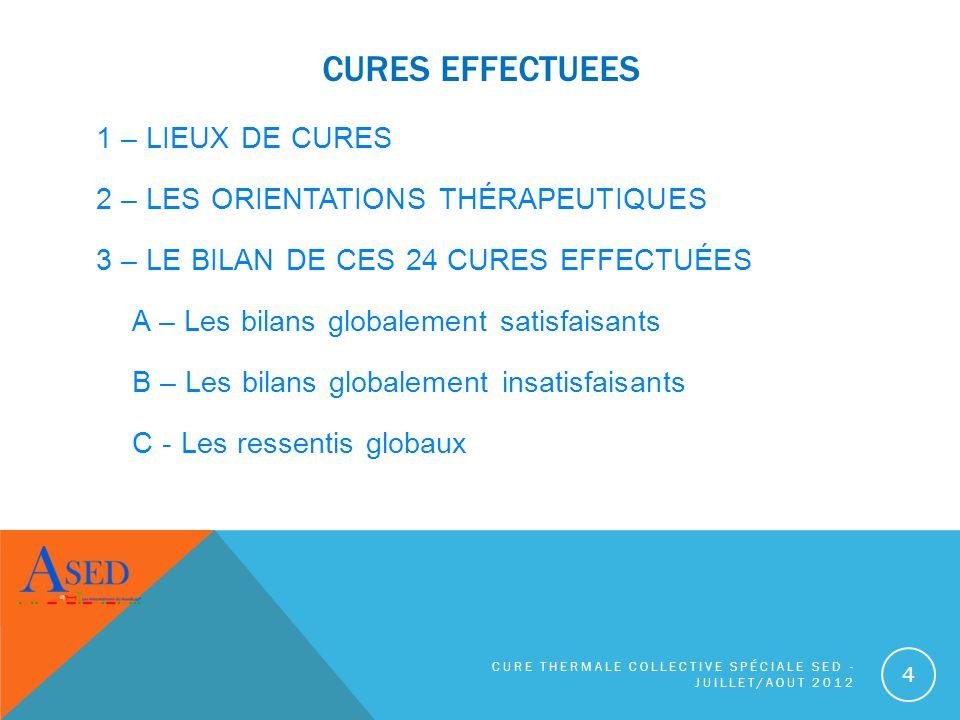 CURES EFFECTUEES 1 – LIEUX DE CURES 2 – LES ORIENTATIONS THÉRAPEUTIQUES 3 – LE BILAN DE CES 24 CURES EFFECTUÉES A – Les bilans globalement satisfaisan