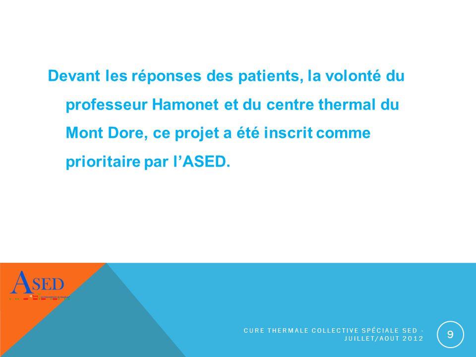 Devant les réponses des patients, la volonté du professeur Hamonet et du centre thermal du Mont Dore, ce projet a été inscrit comme prioritaire par lA