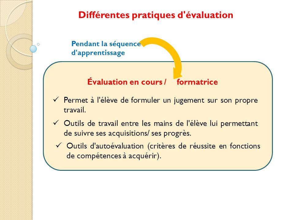 Outils d'autoévaluation (critères de réussite en fonctions de compétences à acquérir). Pendant la séquence d'apprentissage Différentes pratiques d'éva