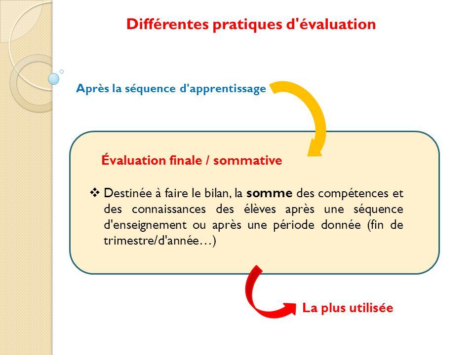 Destinée à faire le bilan, la somme des compétences et des connaissances des élèves après une séquence d'enseignement ou après une période donnée (fin