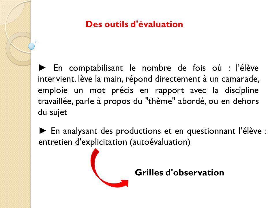 En analysant des productions et en questionnant lélève : entretien d'explicitation (autoévaluation) Des outils d'évaluation En comptabilisant le nombr