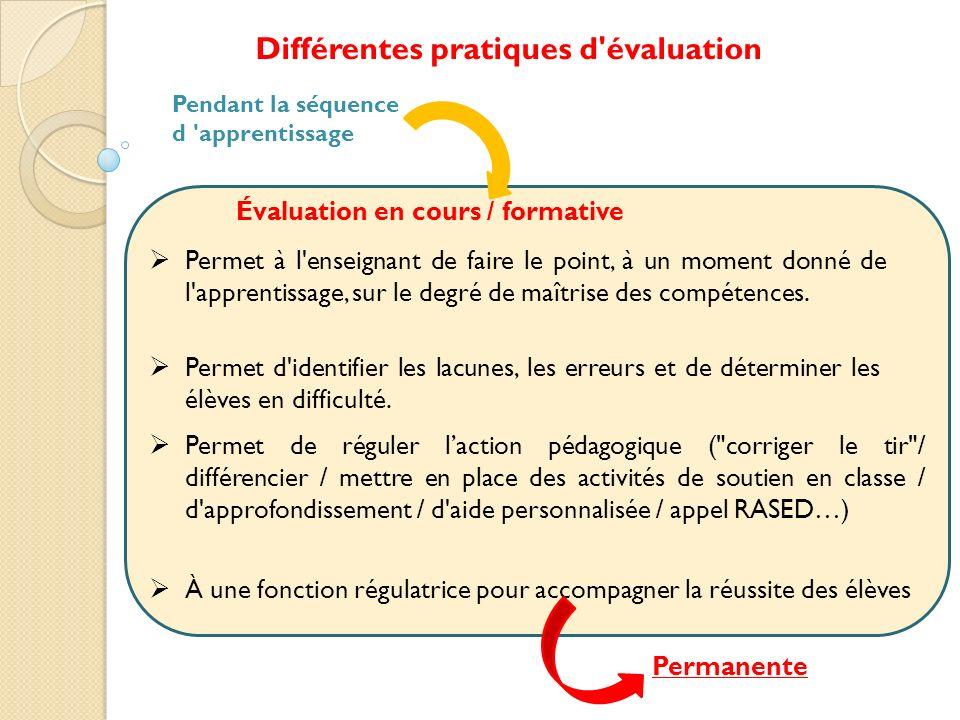 Différentes pratiques d'évaluation Pendant la séquence d 'apprentissage À une fonction régulatrice pour accompagner la réussite des élèves Évaluation