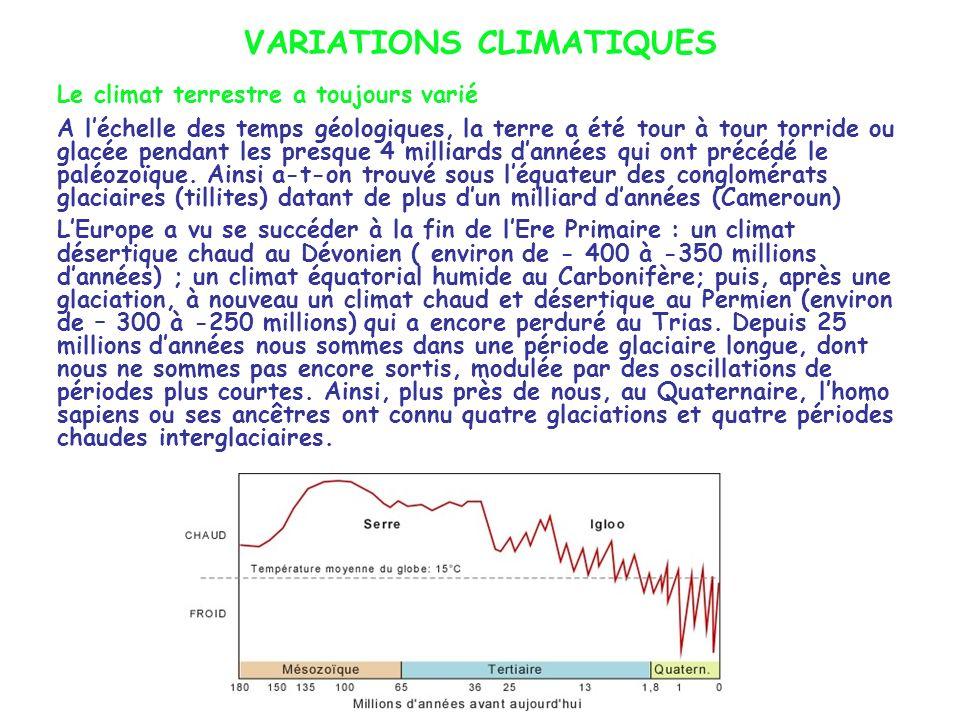 VARIATIONS CLIMATIQUES Le climat terrestre a toujours varié A léchelle des temps géologiques, la terre a été tour à tour torride ou glacée pendant les