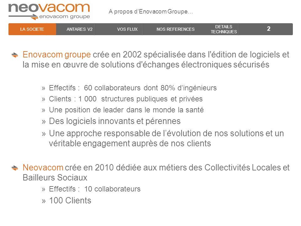 LA SOCIETE ANTARES V2VOS FLUXNOS REFERENCES DETAILS TECHNIQUES A propos dEnovacom Groupe… 2 Enovacom groupe crée en 2002 spécialisée dans l'édition de