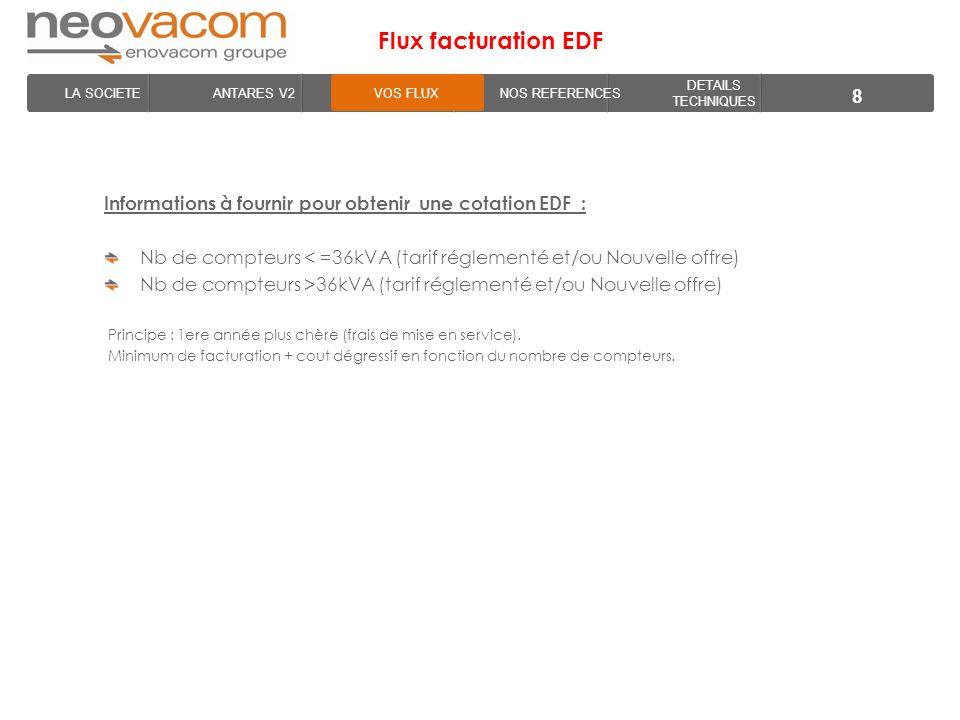 LA SOCIETE ANTARES V2VOS FLUXNOS REFERENCES DETAILS TECHNIQUES Flux facturation EDF 8 Informations à fournir pour obtenir une cotation EDF : Nb de com