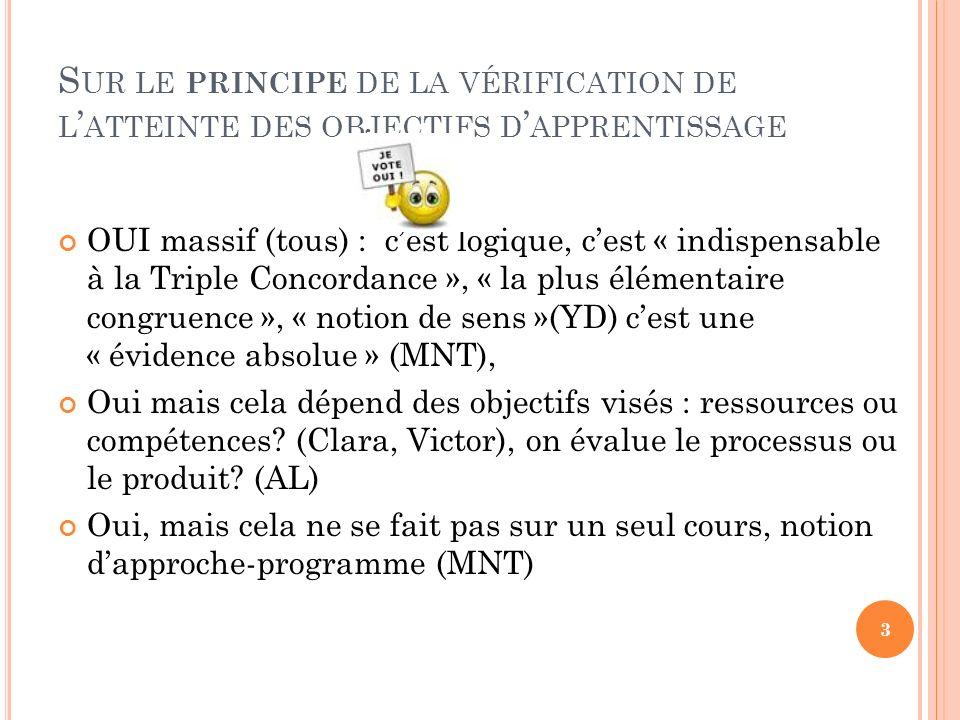 C ELA DÉPEND … DU TYPE D OBJECTIFS D APPRENTISSAGE VISÉS ….