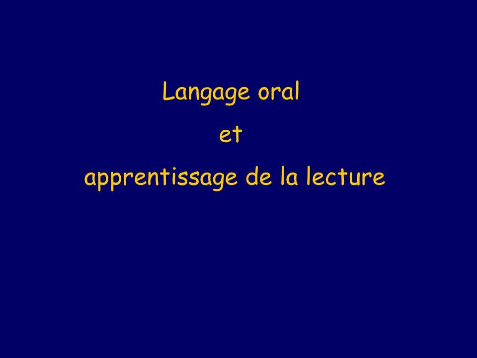 Langage oral et apprentissage de la lecture