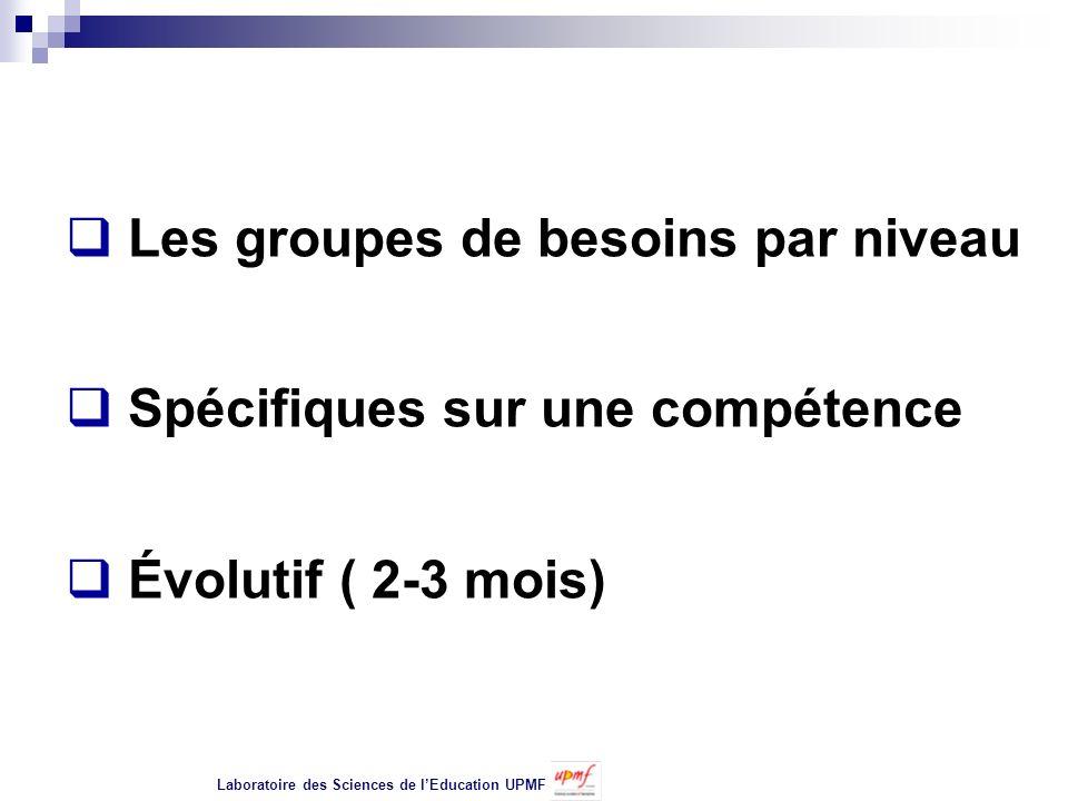 Les groupes de besoins par niveau Spécifiques sur une compétence Évolutif ( 2-3 mois) Laboratoire des Sciences de lEducation UPMF